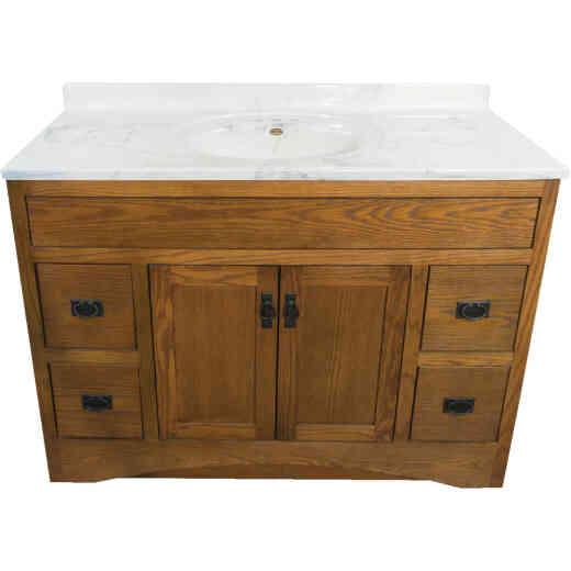 CraftMark Craftsmen Estate Oak 48 In. W x 34 In. H x 21 In. D Vanity Base, 2 Door/4 Drawer