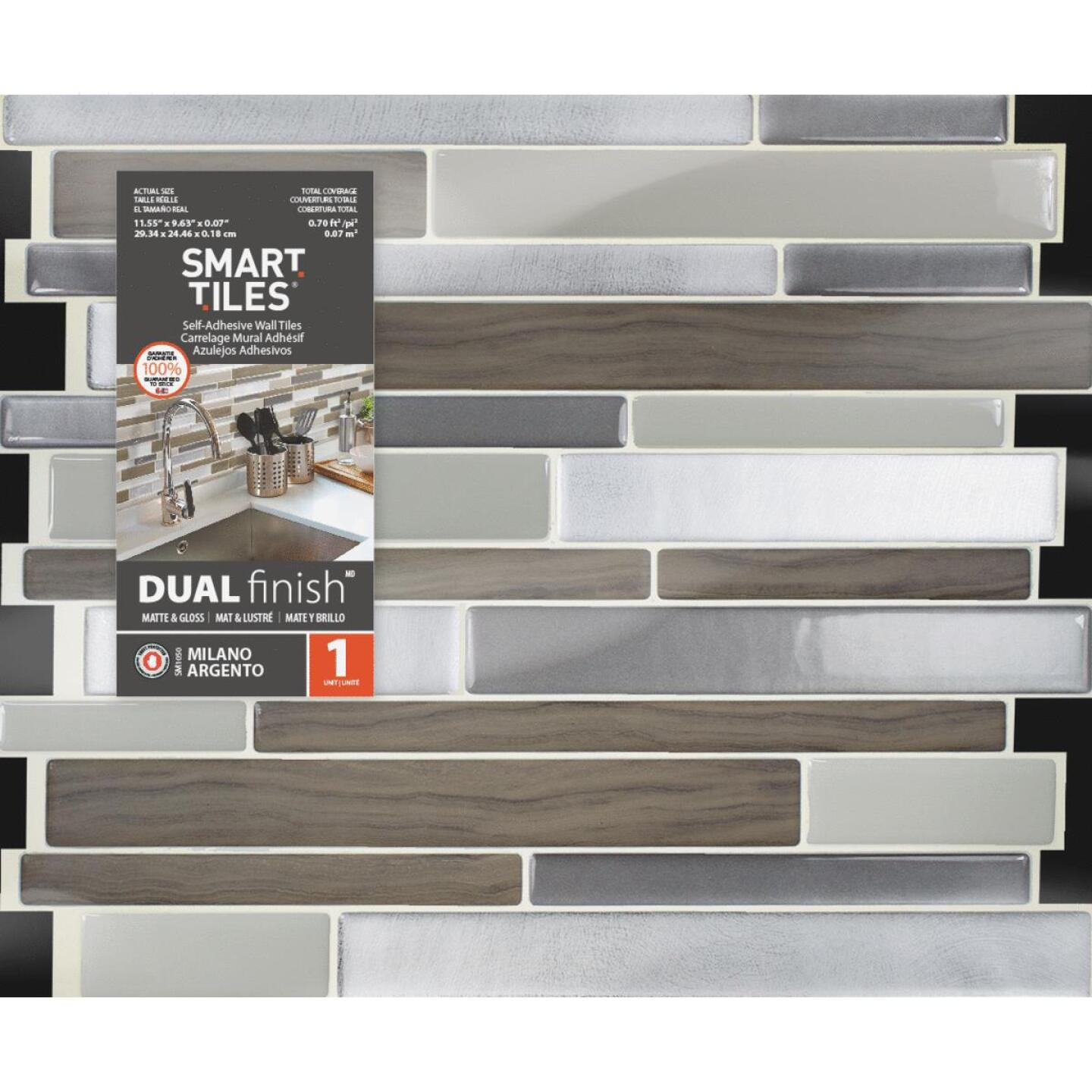 Carrelage Mural Metro Adhesif smart tiles 9.63 in. x 11.55 in. glass-like plastic