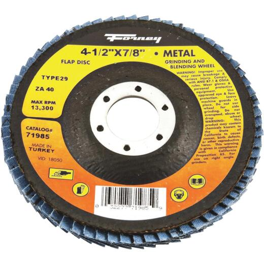Forney 4-1/2 In. x 7/8 In. 40-Grit Type 29 Blue Zirconia Angle Grinder Flap Disc