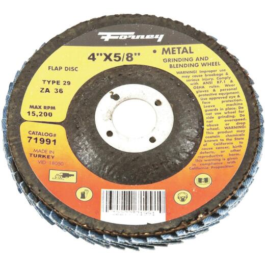 Forney 4 In. x 5/8 In. 36-Grit Type 29 Blue Zirconia Angle Grinder Flap Disc