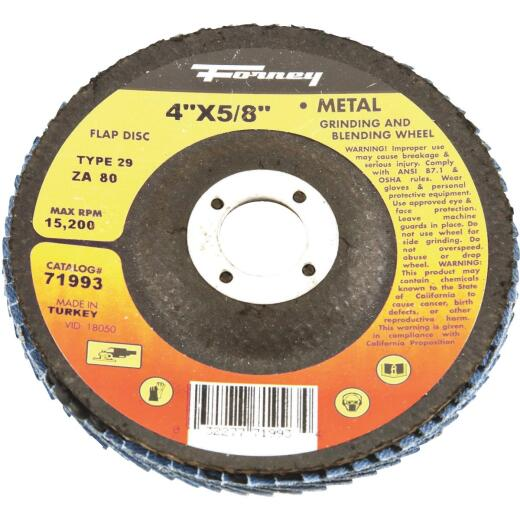 Forney 4 In. x 5/8 In. 80-Grit Type 29 Blue Zirconia Angle Grinder Flap Disc