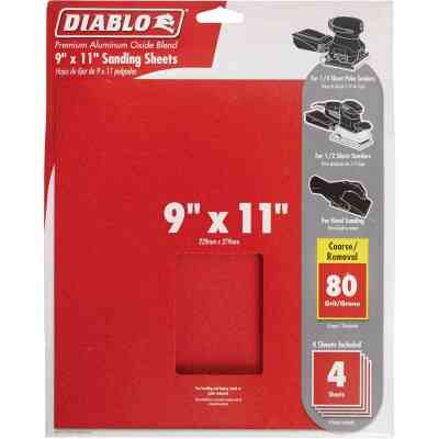 Diablo 9 In. x 11 In. 80 Grit Coarse Sandpaper (4-Pack)