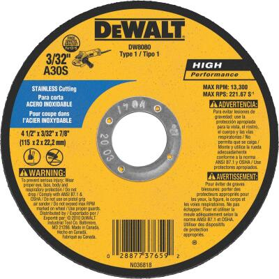 DeWalt HP Type 1 4-1/2 In. x 1/8 In. x 7/8 In. Stainless Cut-Off Wheel