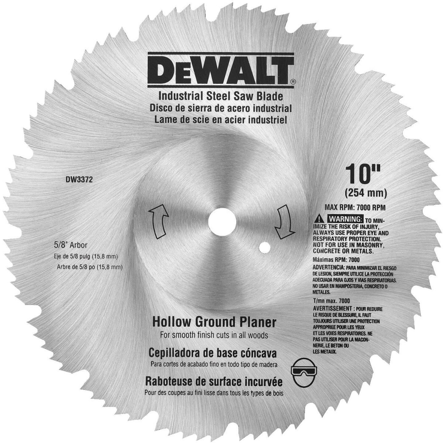 DeWalt Industrial Steel 10 In. 80-Tooth Hollow Ground Planer Circular Saw Blade Image 1