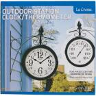 """La Crosse Technology 8"""" Metal Outdoor Clock Thermometer Image 1"""
