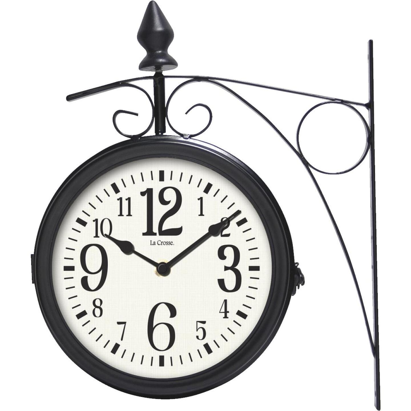 """La Crosse Technology 8"""" Metal Outdoor Clock Thermometer Image 3"""