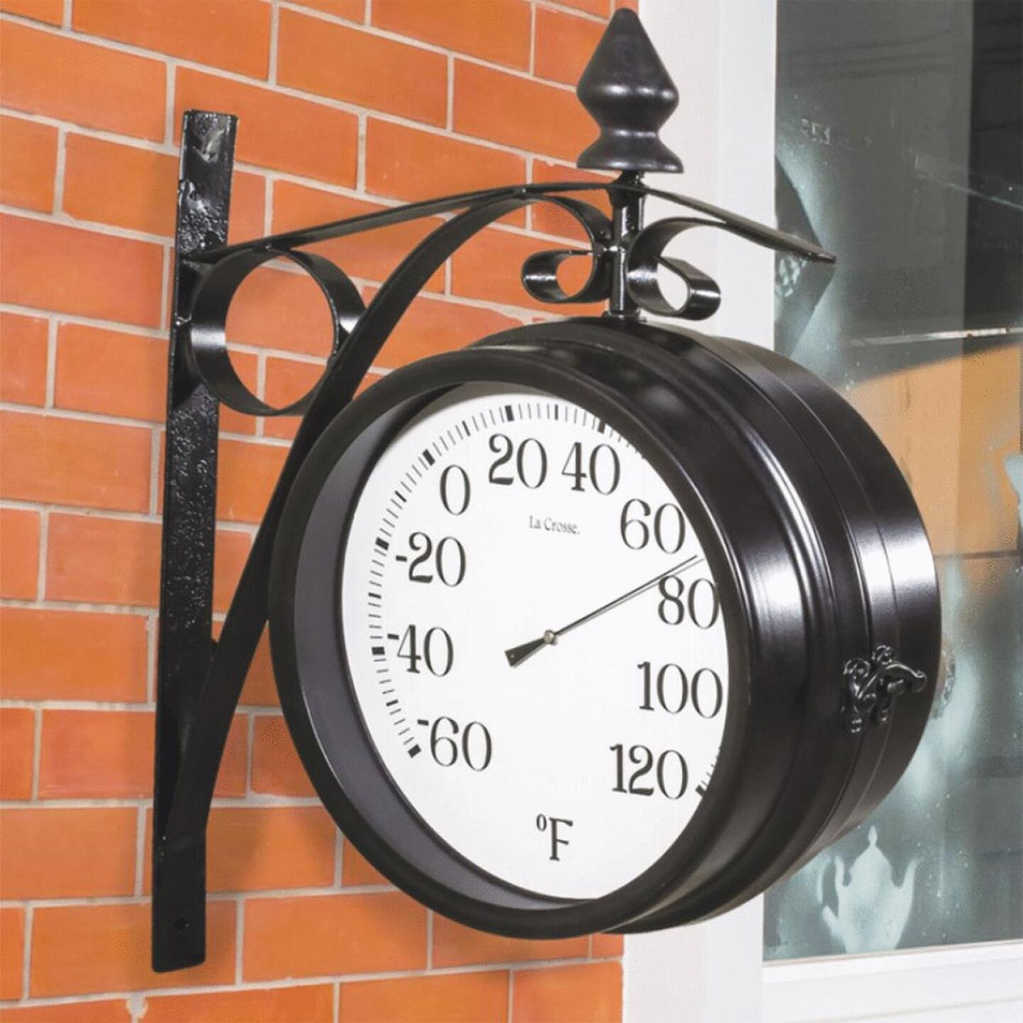 """La Crosse Technology 8"""" Metal Outdoor Clock Thermometer Image 4"""