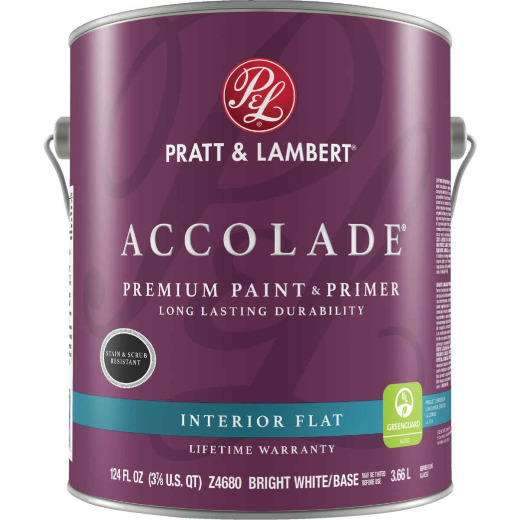 Pratt & Lambert Accolade Premium 100% Acrylic Paint & Primer Flat Interior Wall Paint, Bright White Base, 1 Gal.