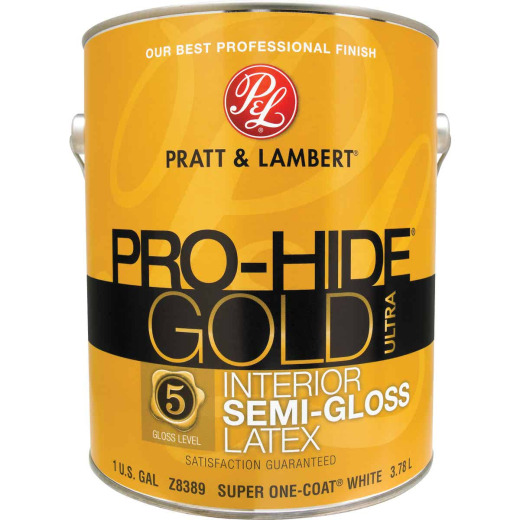 Pratt & Lambert Pro-Hide Gold Ultra Latex Semi-Gloss Interior Wall Paint, Super One-Coat White, 1 Gal.