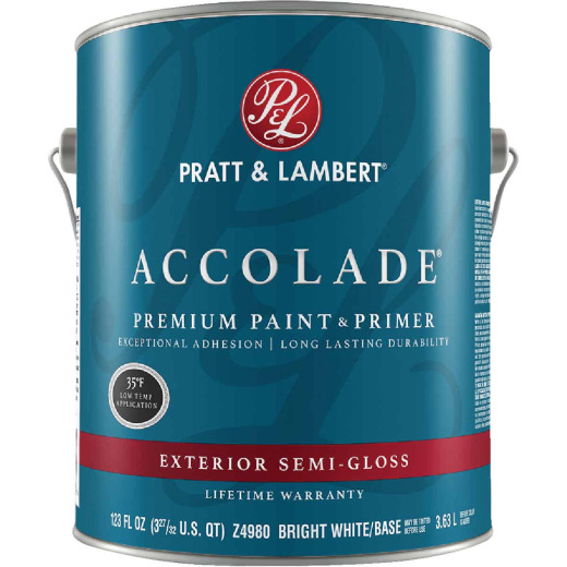 Pratt & Lambert Accolade 100% Acrylic Paint & Primer Semi-Gloss Exterior House Paint, Bright White Base, 1 Gal.